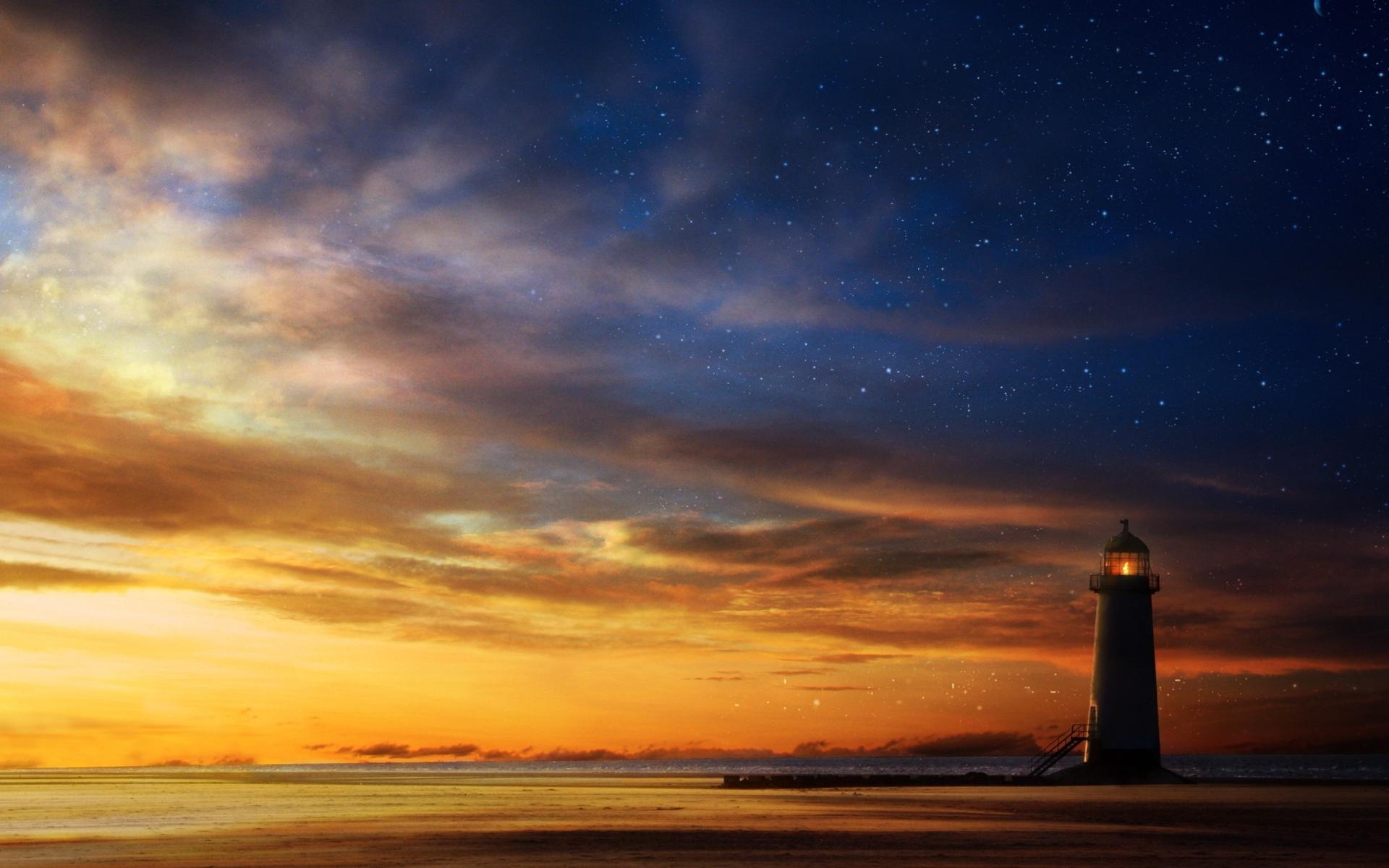 Lighthouse sunset sky