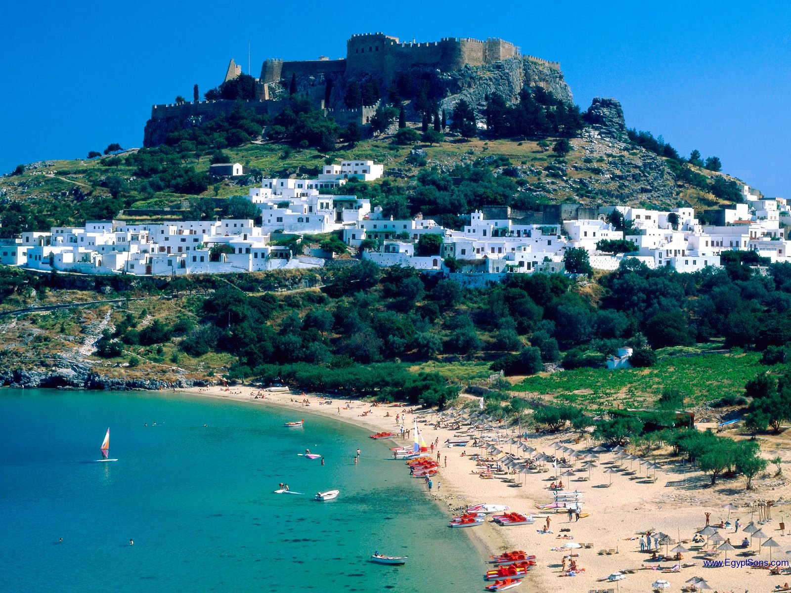 March touristic destination, Rhodes Island, Greece, The white town Lindos