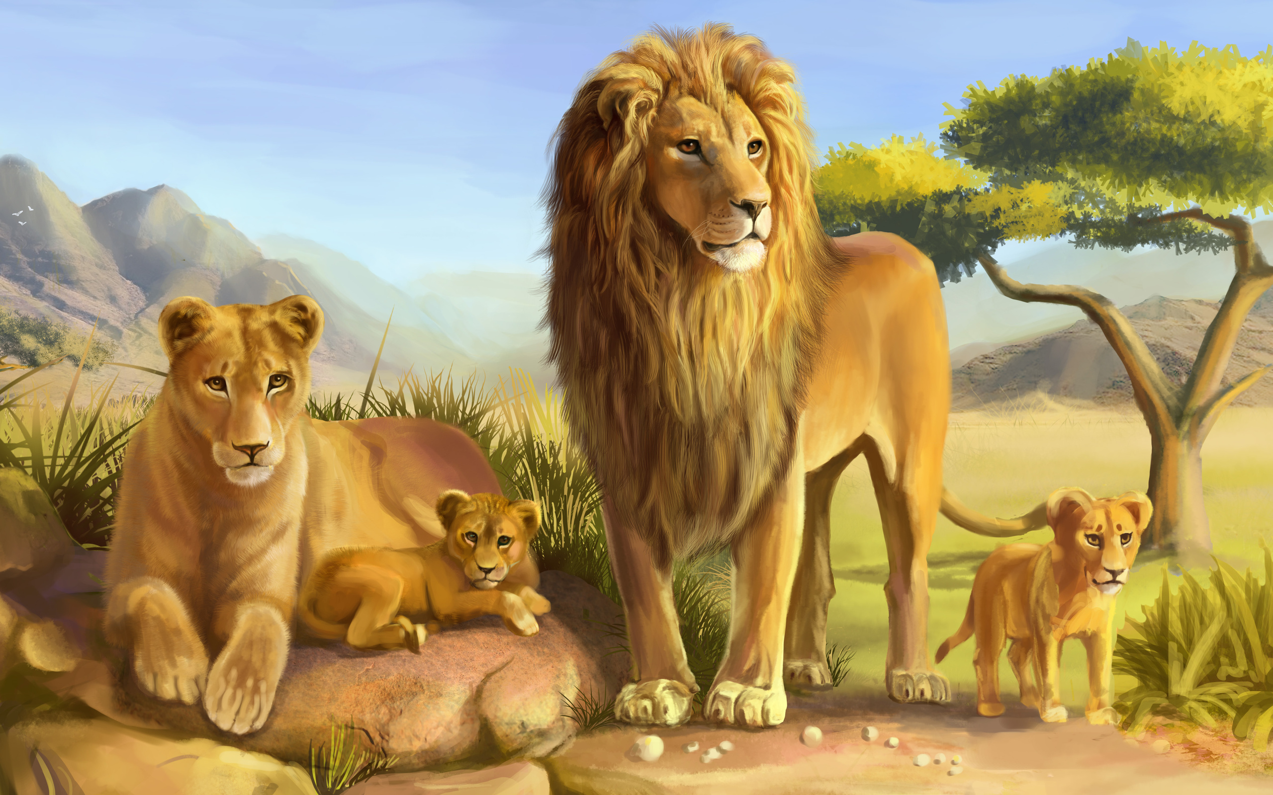 Animals Lion Family Wallpaper Lion Wallpaper