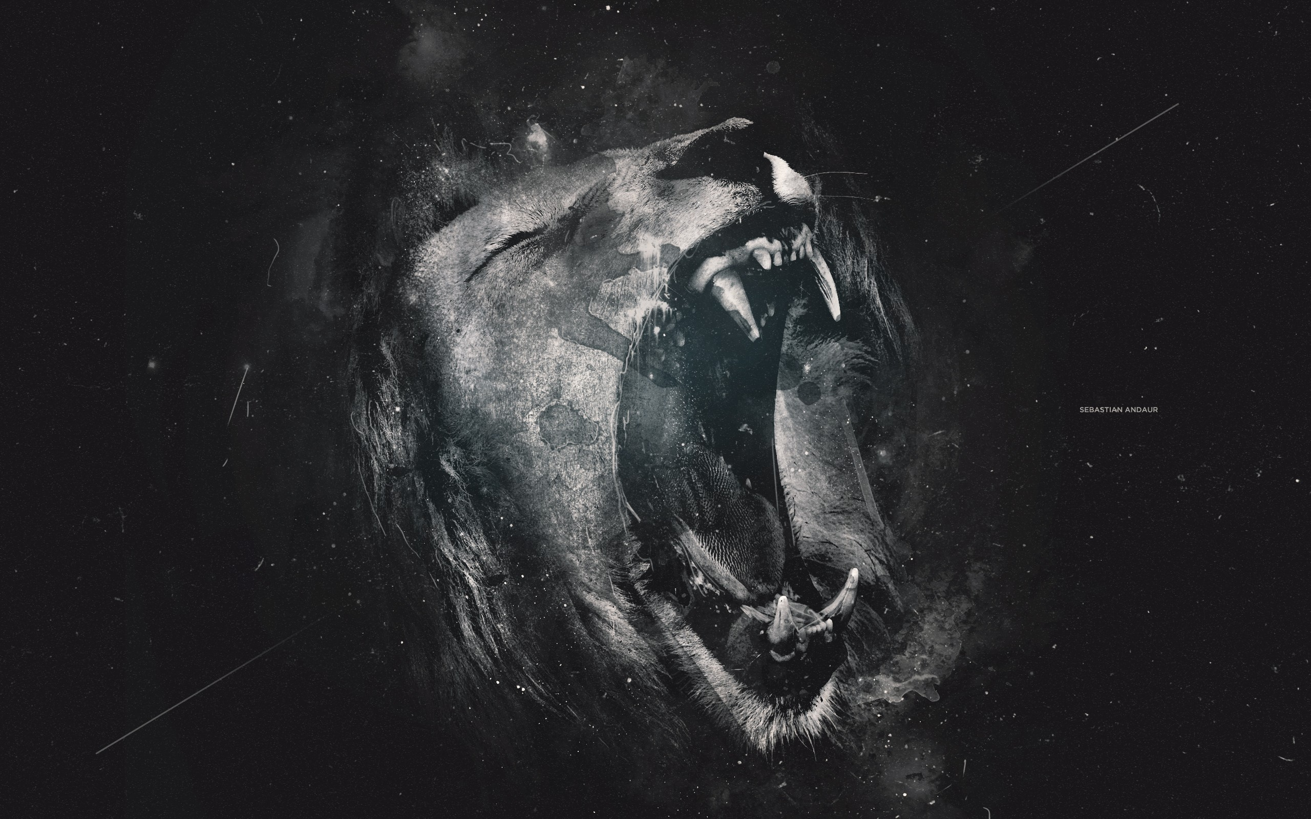 Lion grayscale art