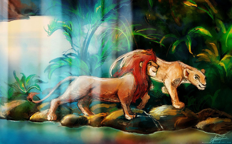 Drawn Simba And Nala - Lion King wallpaper