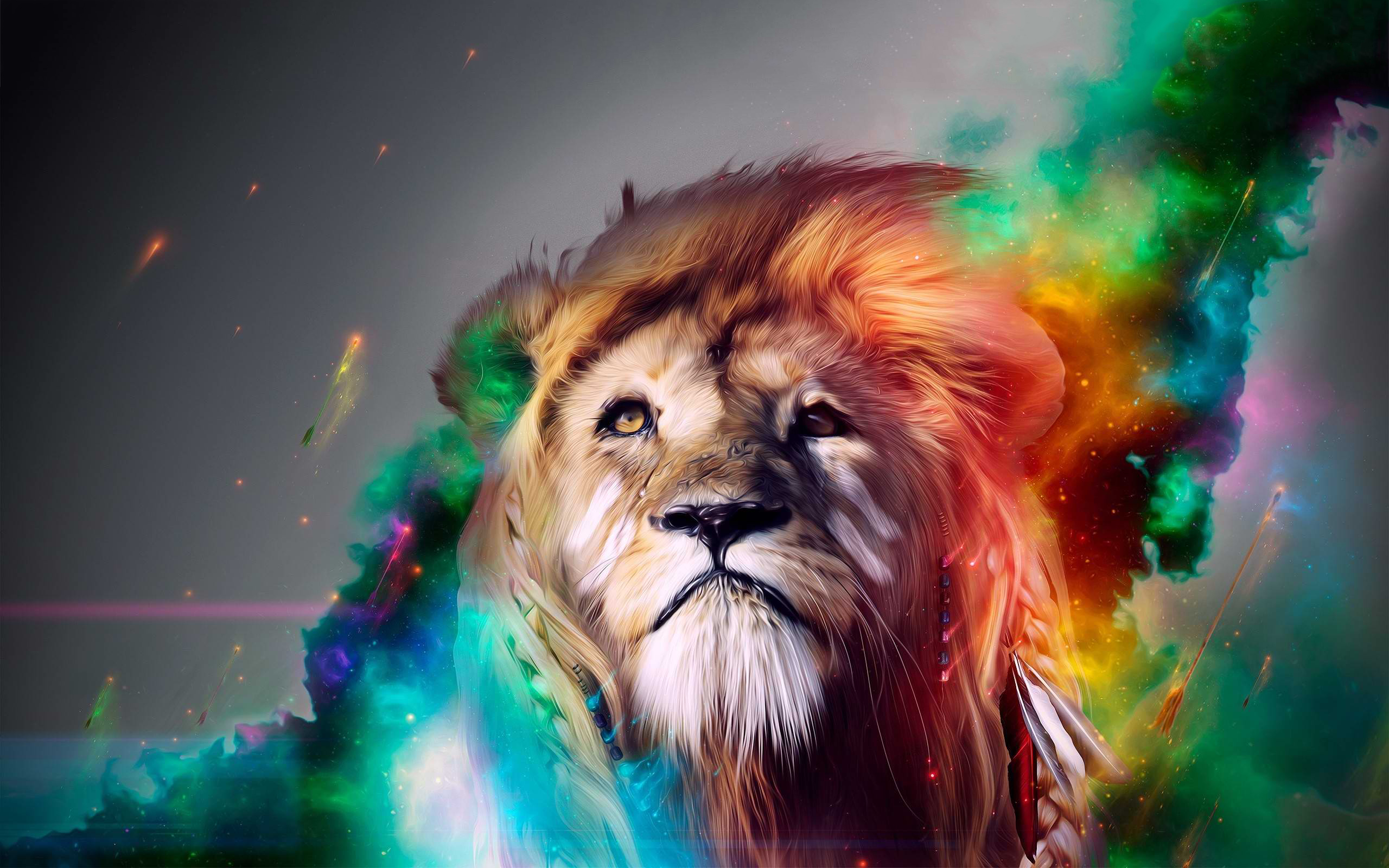 Lion rainbow art