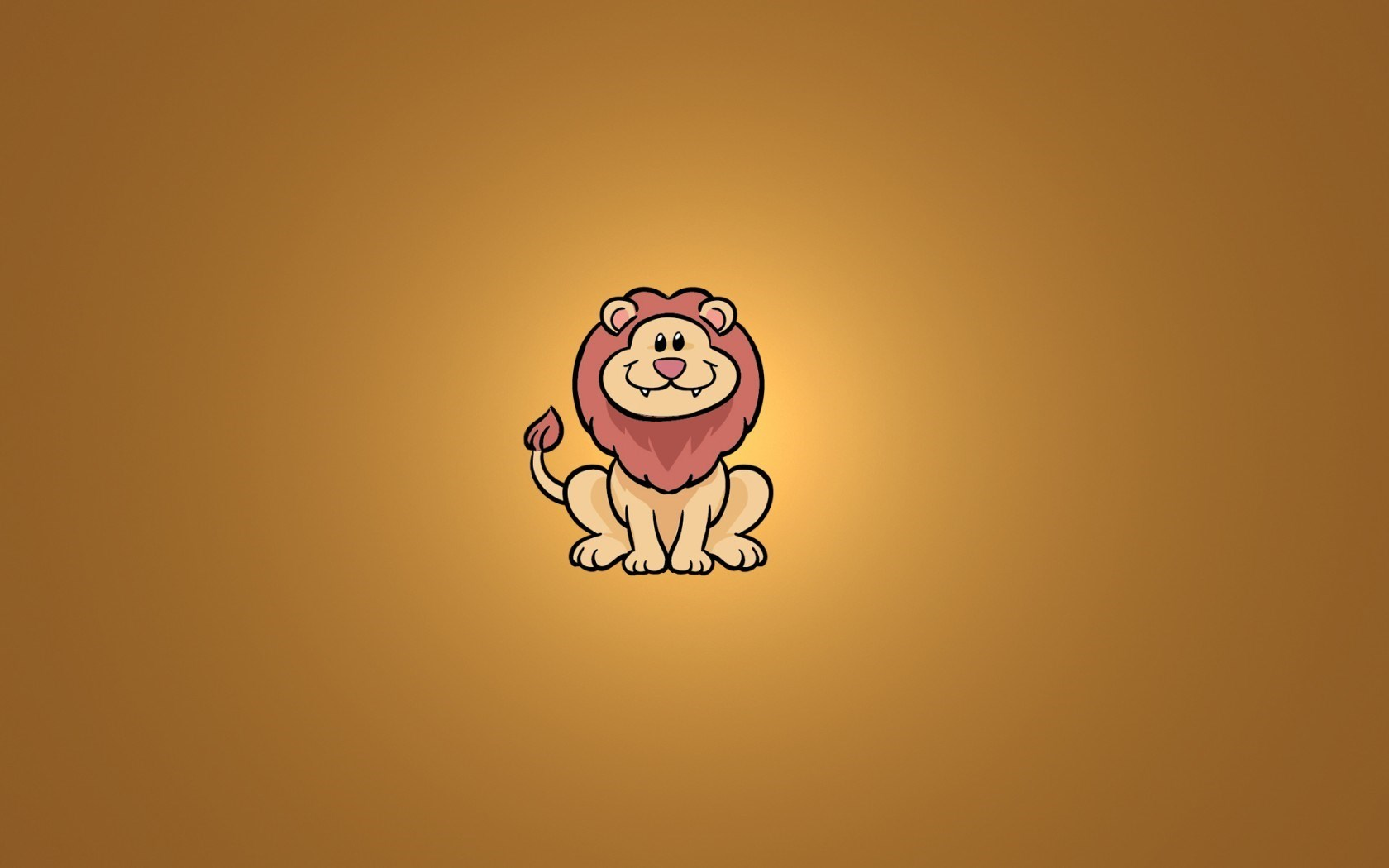 Lion Sitting Smile Minimalism Cartoon