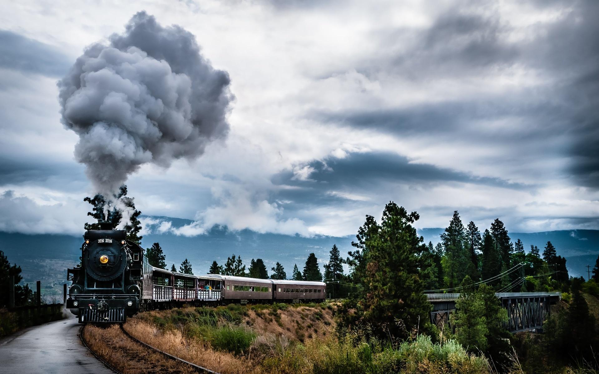 engines locomotive retro classic tracks railroad smoke wallpaper background