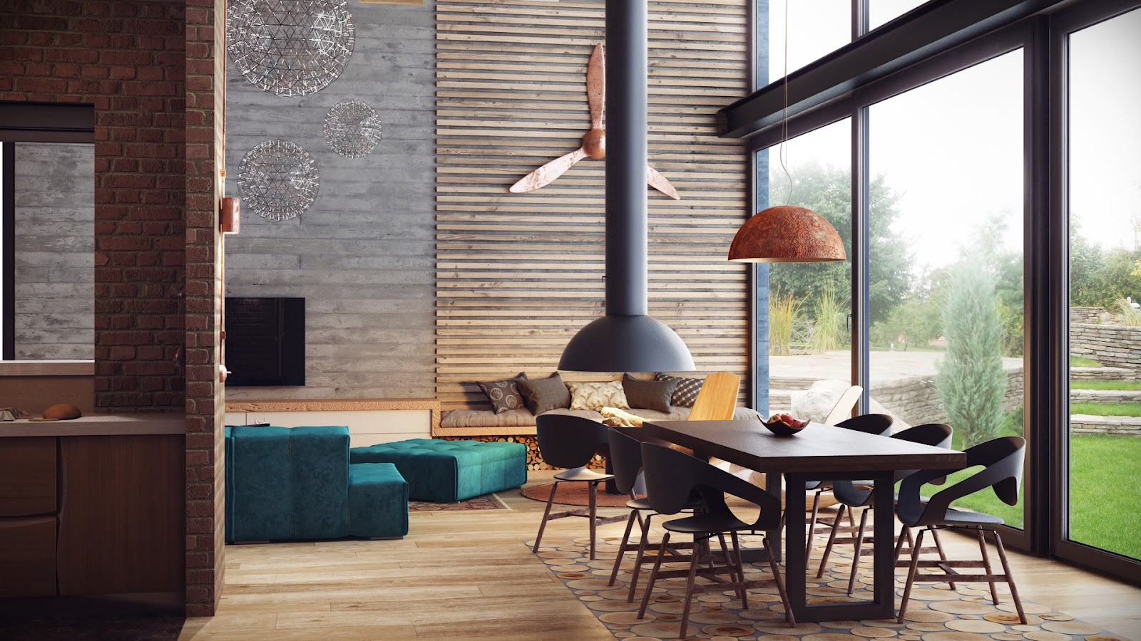 The entire space is warmed by the wooden ceiling panels, which also succeed in making