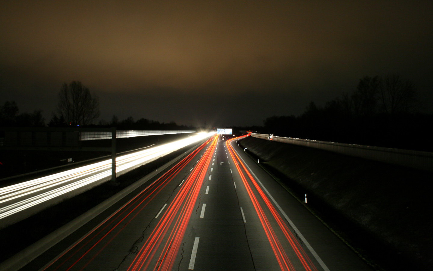 night cars road long exposure