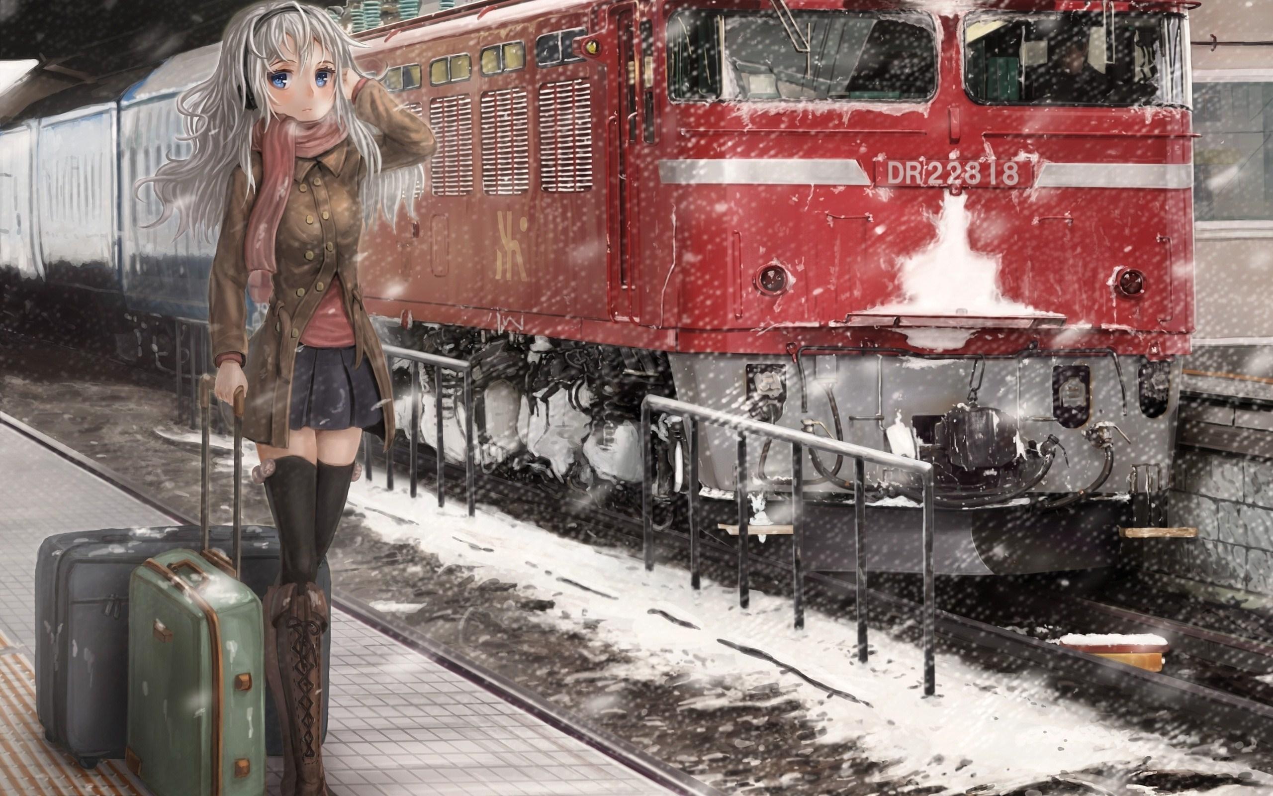 Lovely Anime Girl Winter Train Art