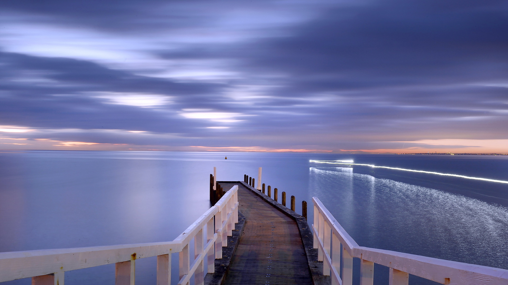 Lovely Dock On The Bay At Dusk Hd Desktop Background HD wallpapers