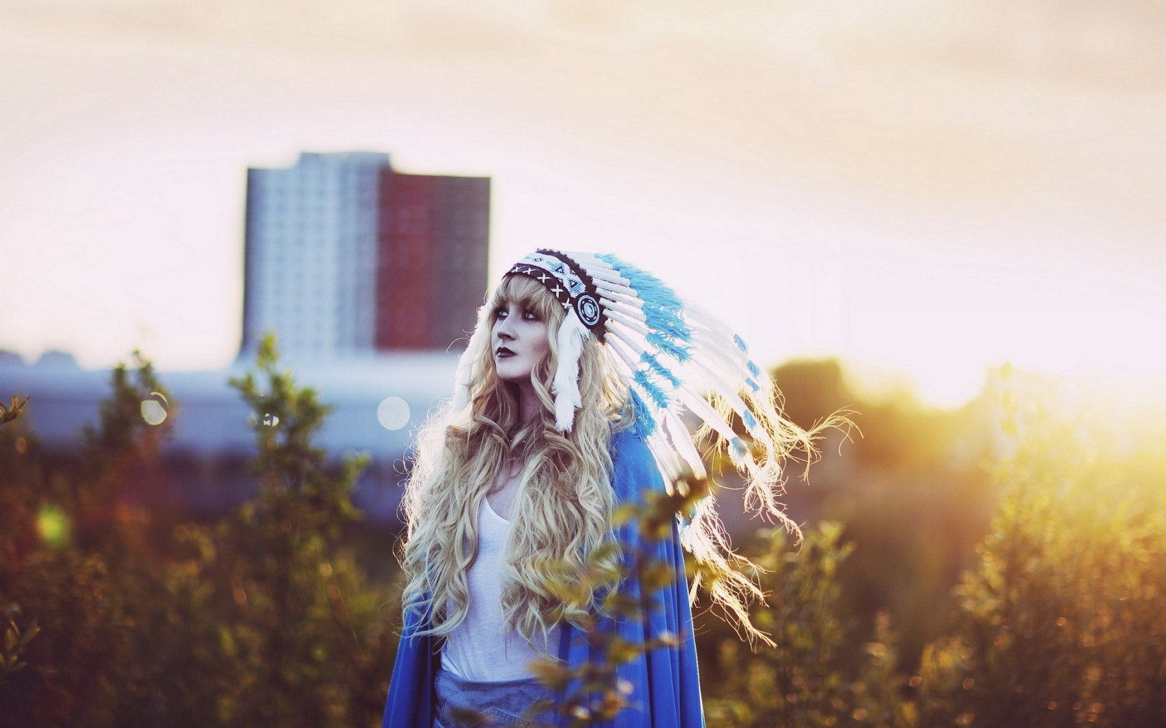Lovely Girl Blonde Indian Headdress