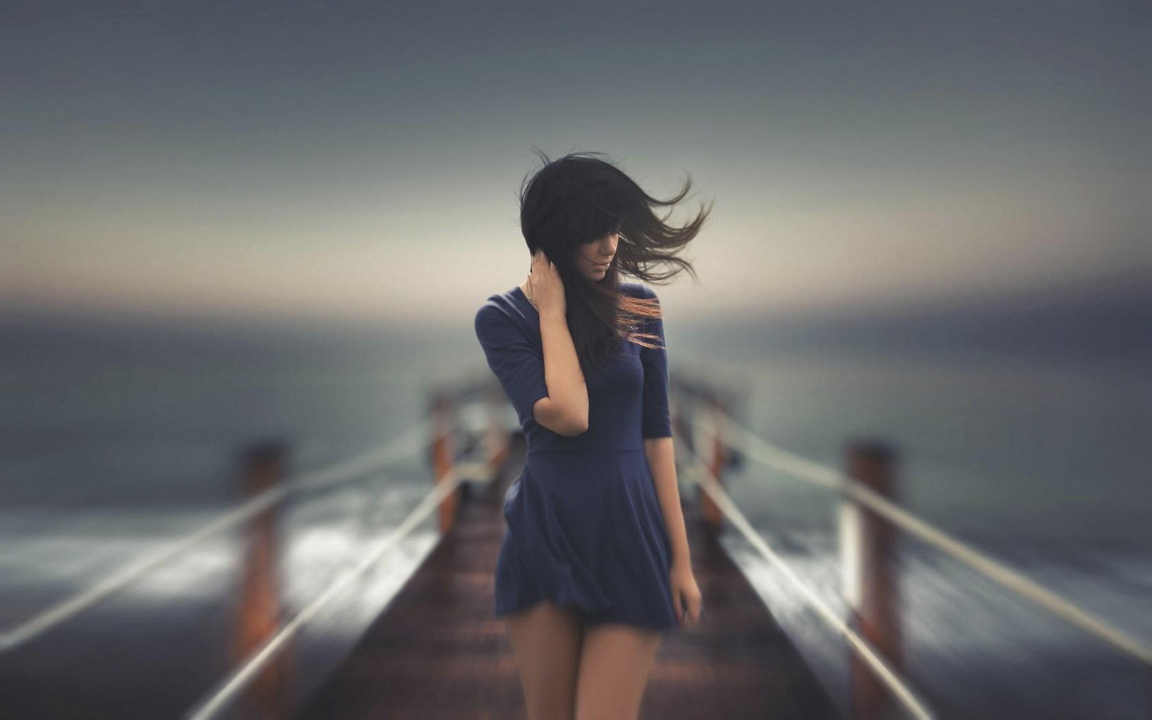 Lovely Girl Wind Sea