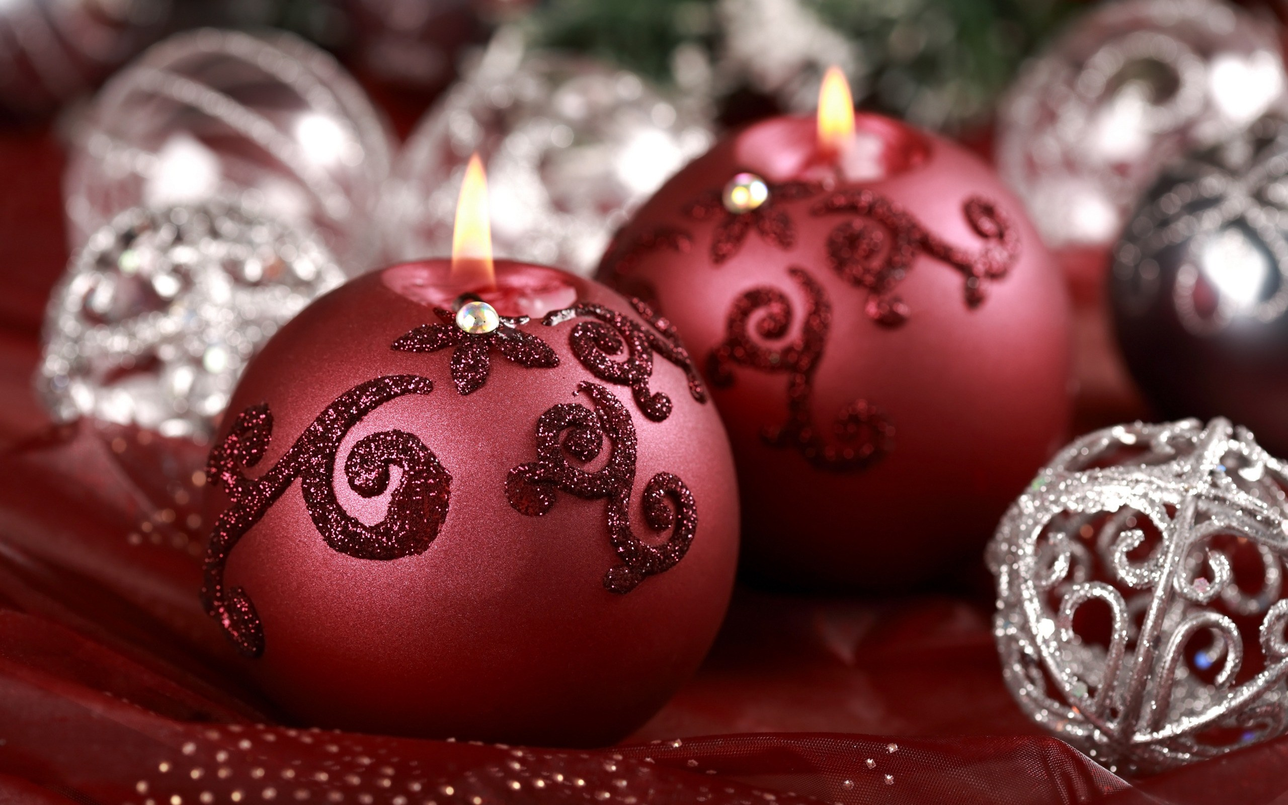 """Download the following Lovely Holiday Candles Close Up Wallpaper 44451 by clicking the orange button positioned underneath the """"Download Wallpaper"""" section."""