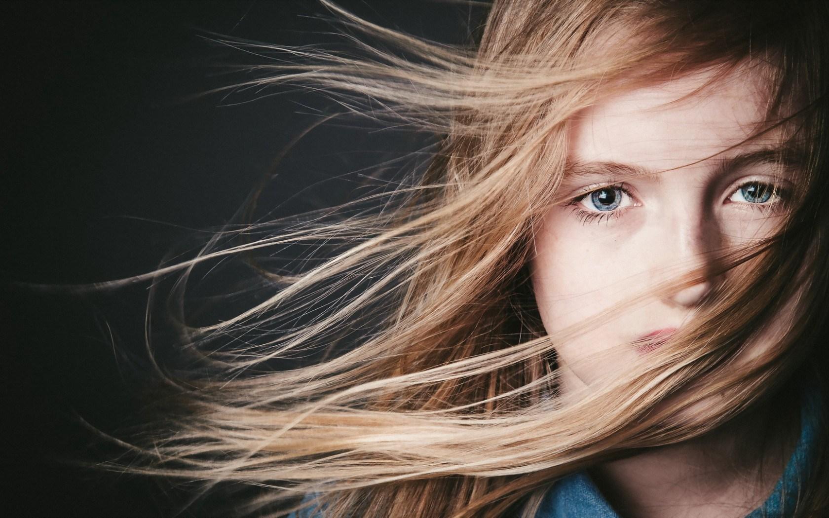 Lovely Portrait Blonde Girl Blue Eyes Photo
