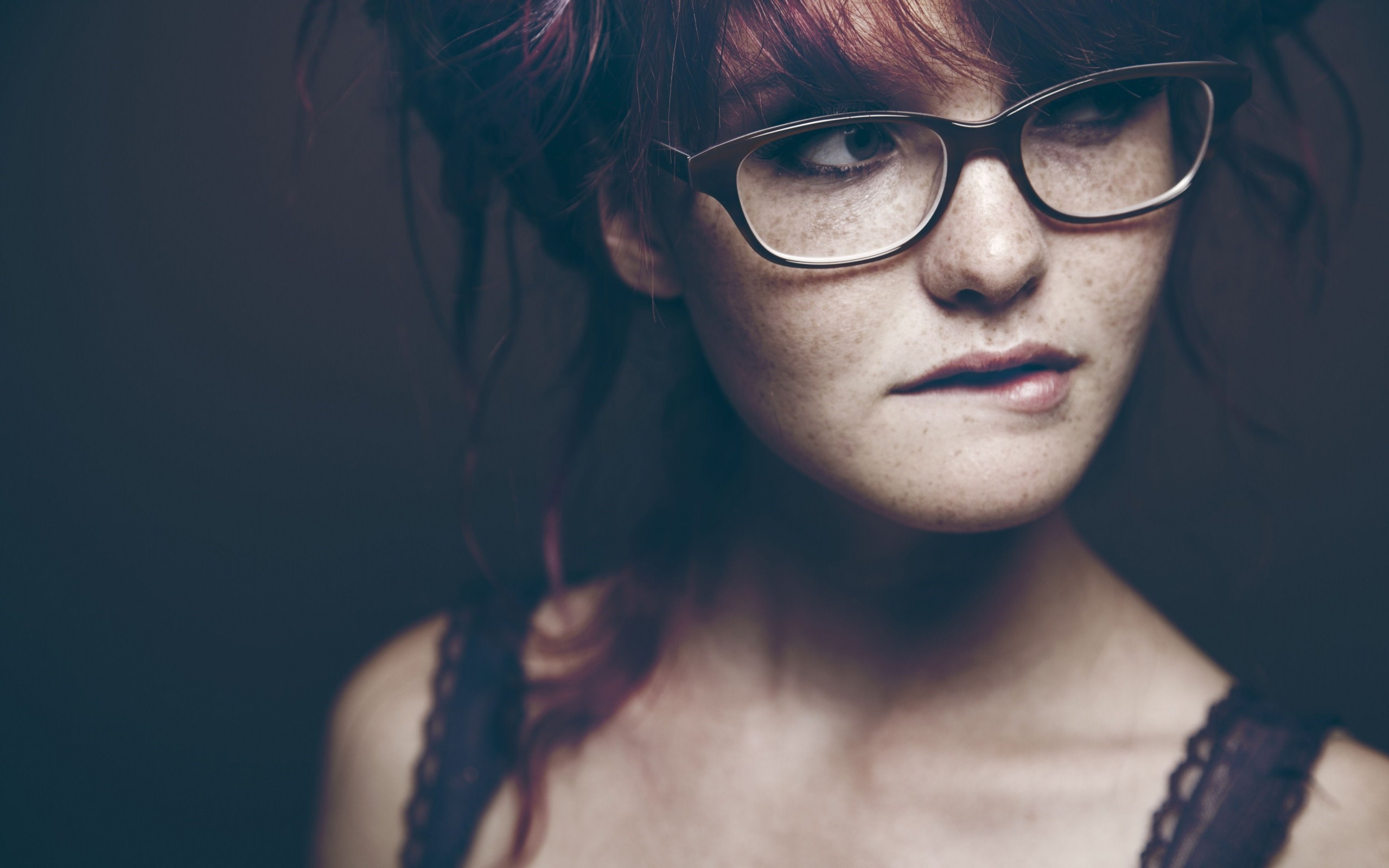 Lovely Redhead Girl Glasses Photography