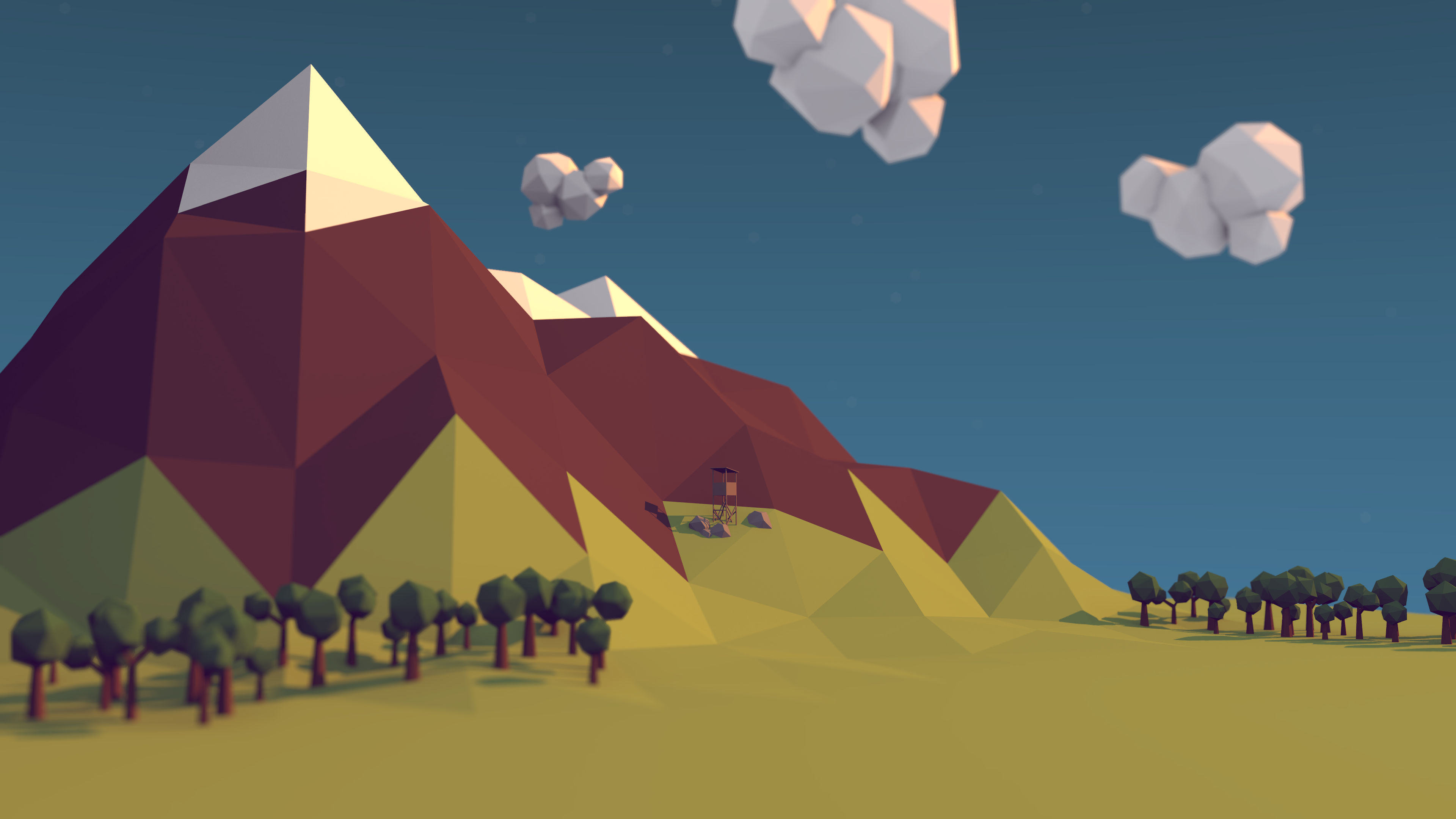 Low Poly Mountain With Watchtower by BenneyBoy444 Low Poly Mountain With Watchtower by BenneyBoy444