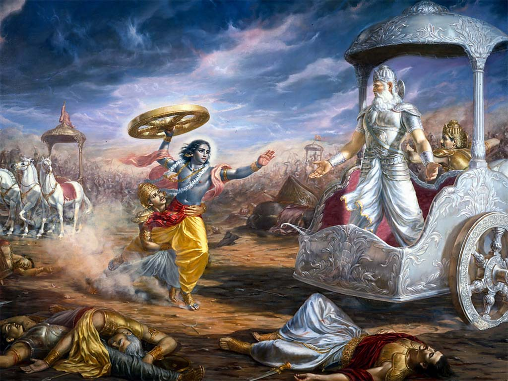 Bhishma forcing Krishna to take up the wheel of a chariot, despite the oath that