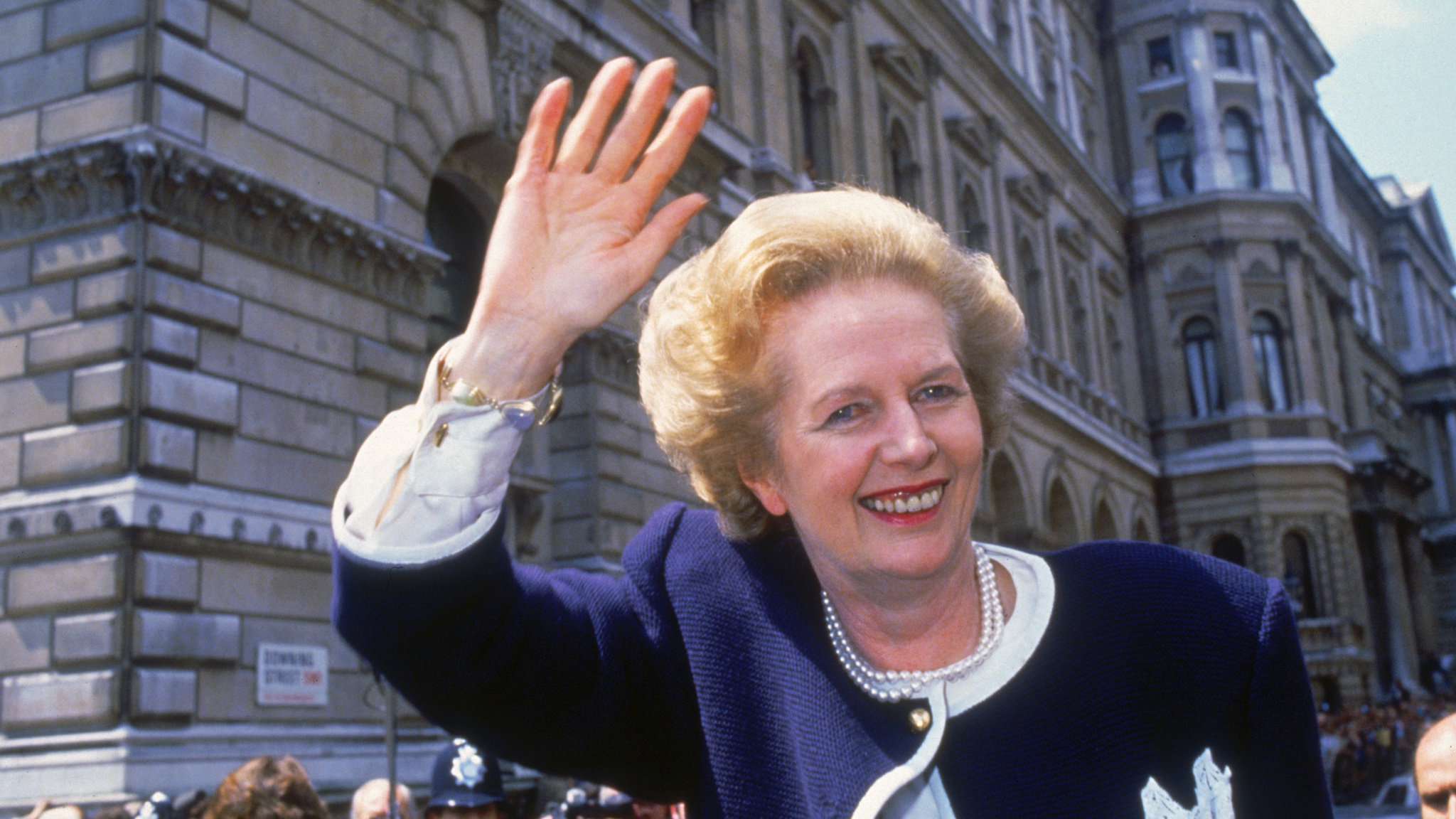 British Prime Minister Margaret Thatcher outside 10 Downing Street Photo by Fox Photos/Hulton Archive