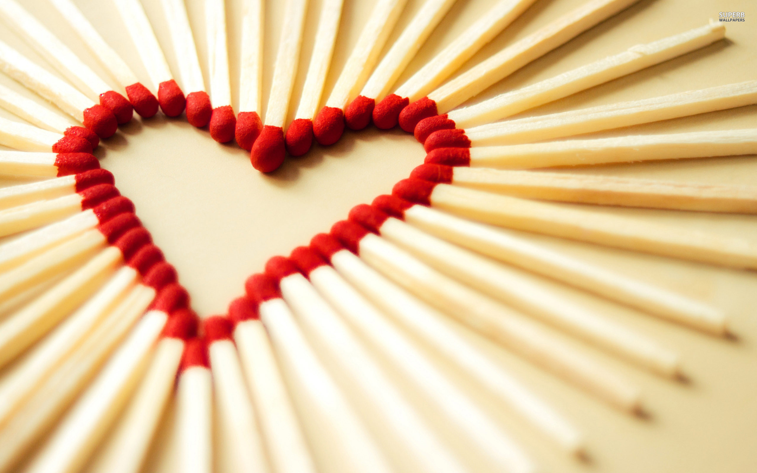 Heart shaped match sticks wallpaper 2560x1600
