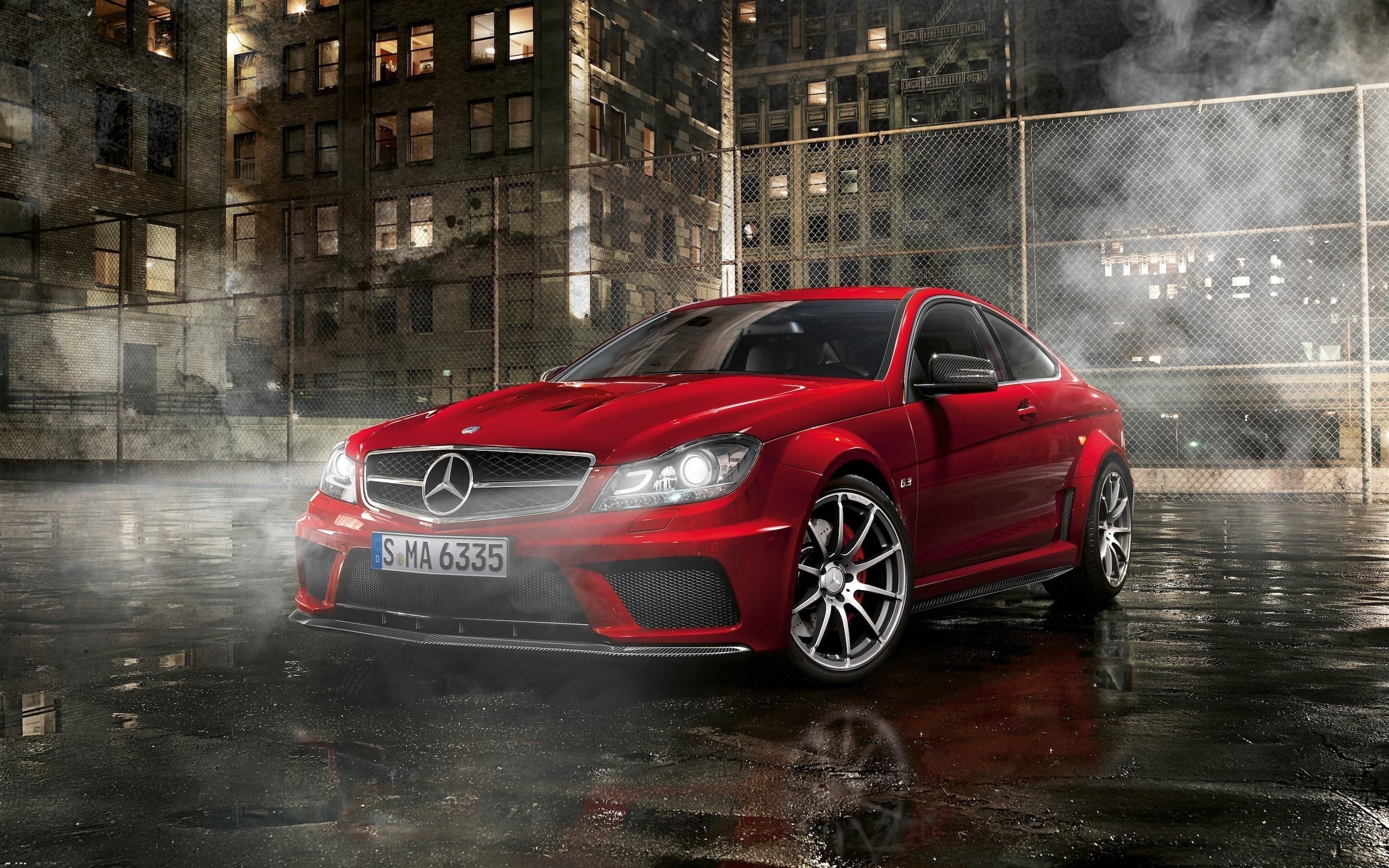 Mercedes-Benz C63 AMG Night Street Parking