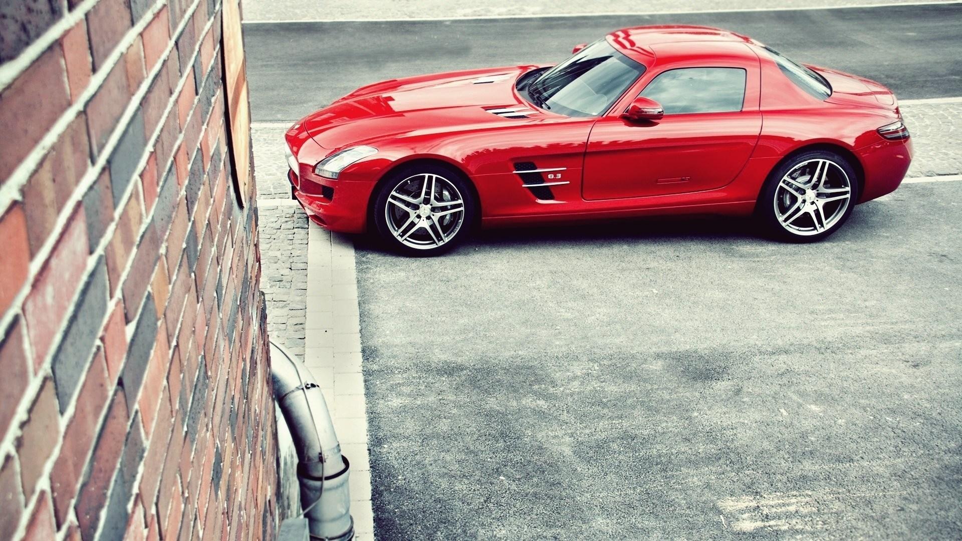 Mercedes-Benz SLS AMG Red Car Parking