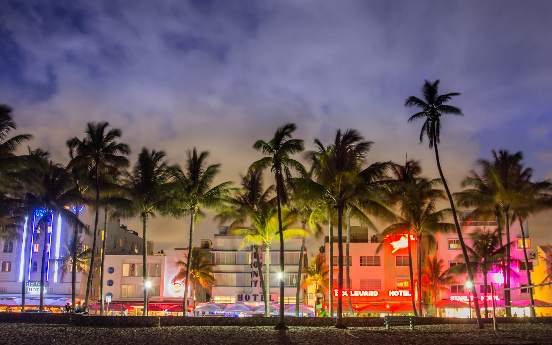 Miami beach night florida
