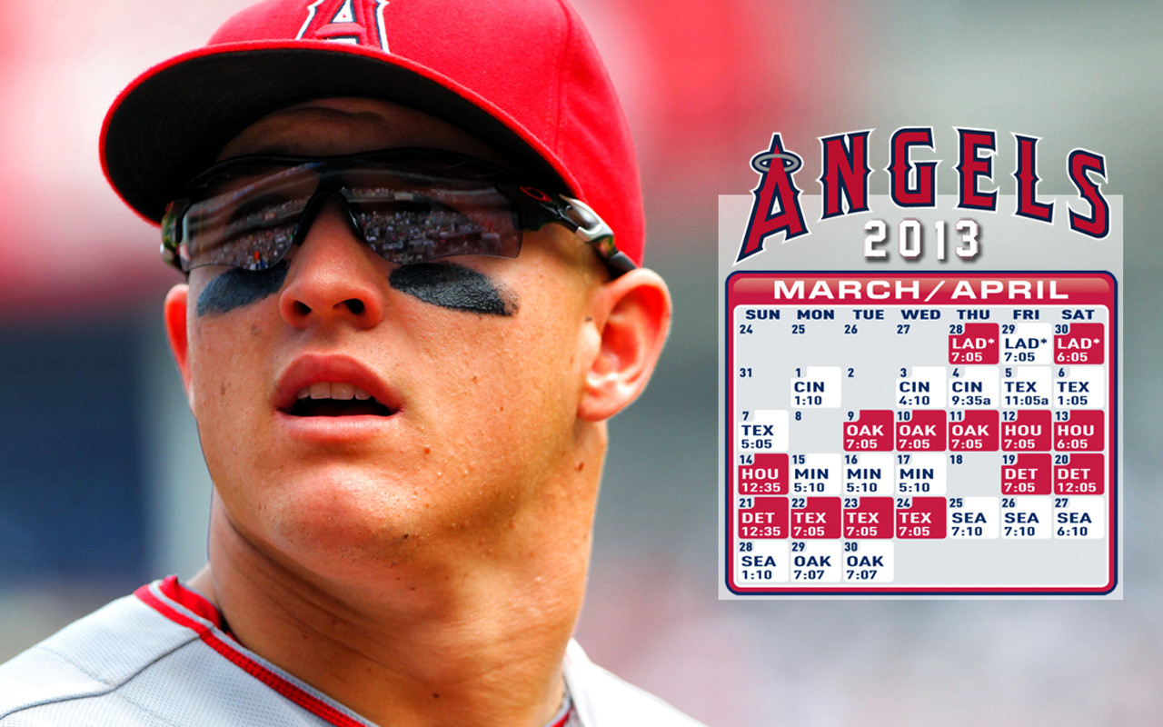Adorn your desktop with a March/April Schedule wallpaper ft. Mike Trout!