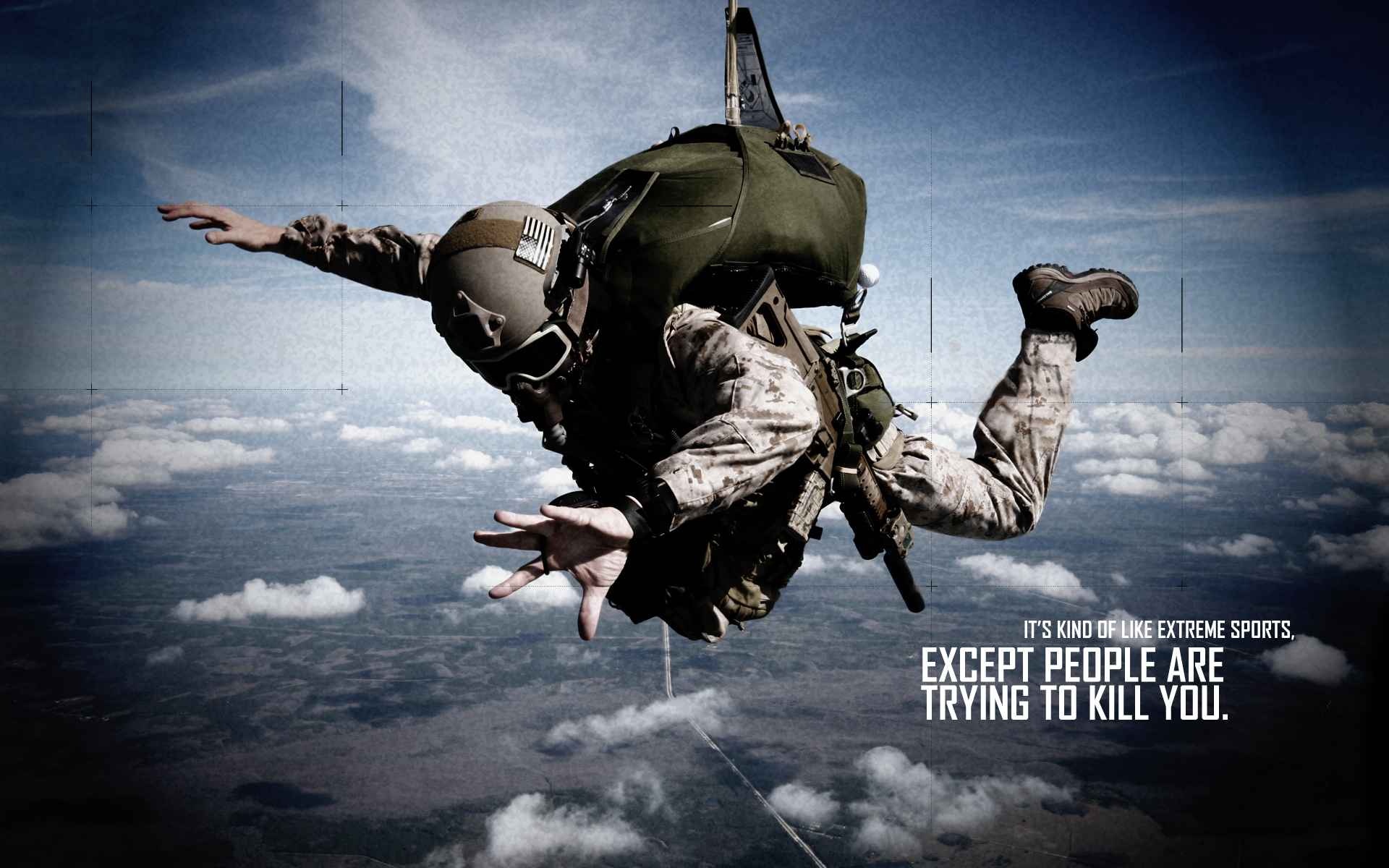 Soldier Skydive Fall Paratrooper warriors mask military text quotes statement dark wallpaper background