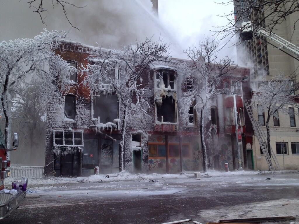 Photo: Iced-over remains of Minneapolis apartment building after fire - @kare11