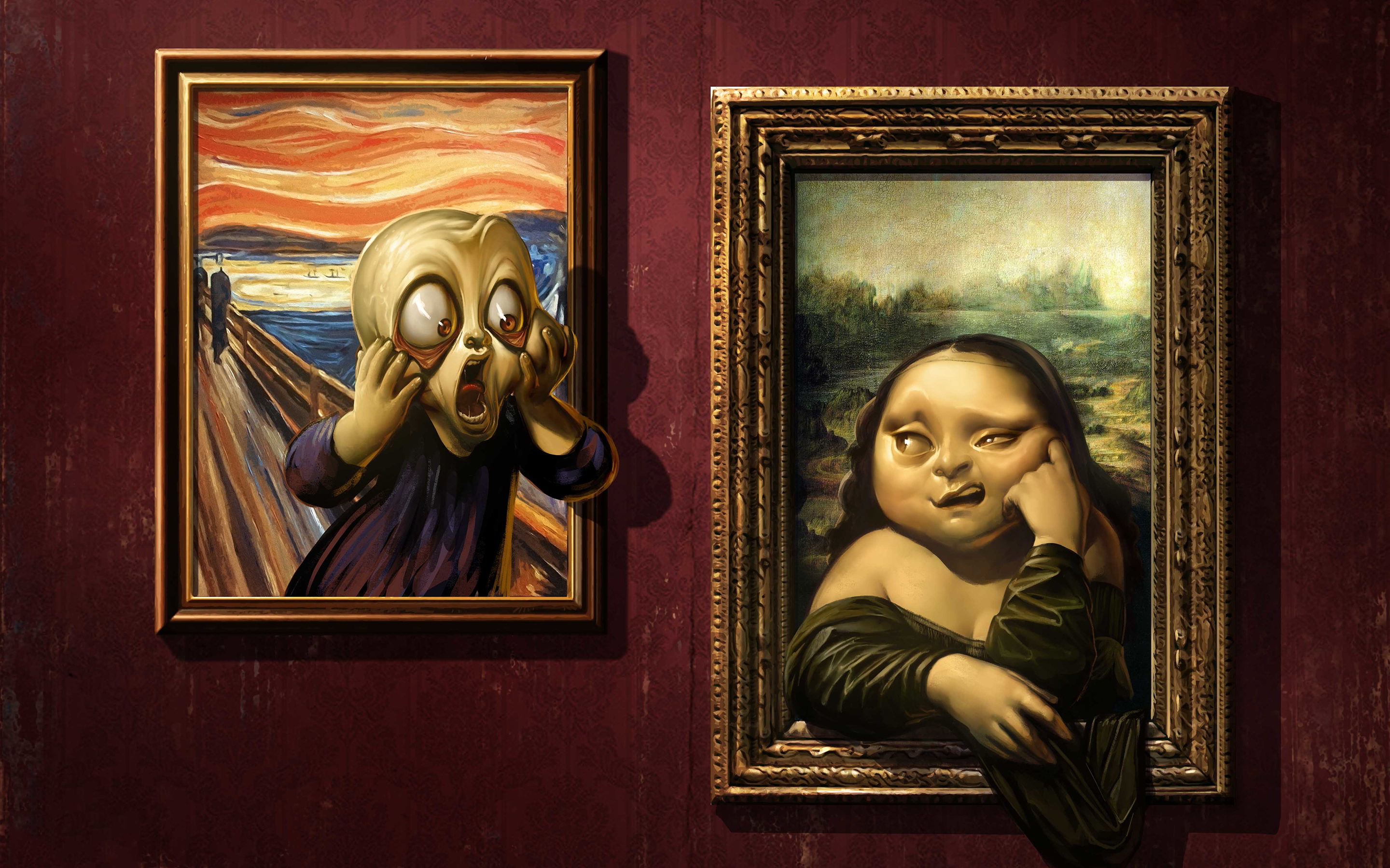 Mona lisa scream funny art
