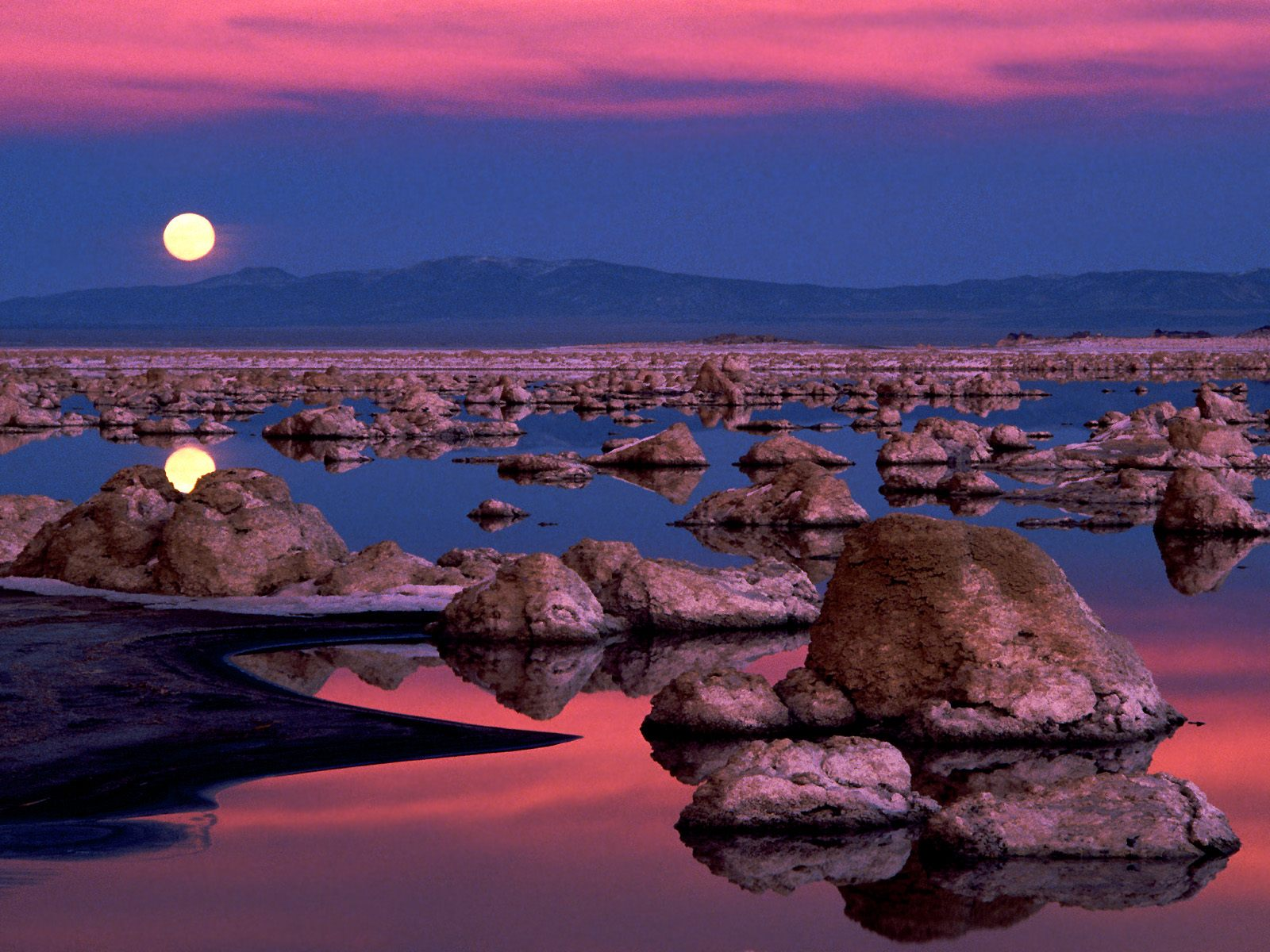 landscapes moonrise mono lake california