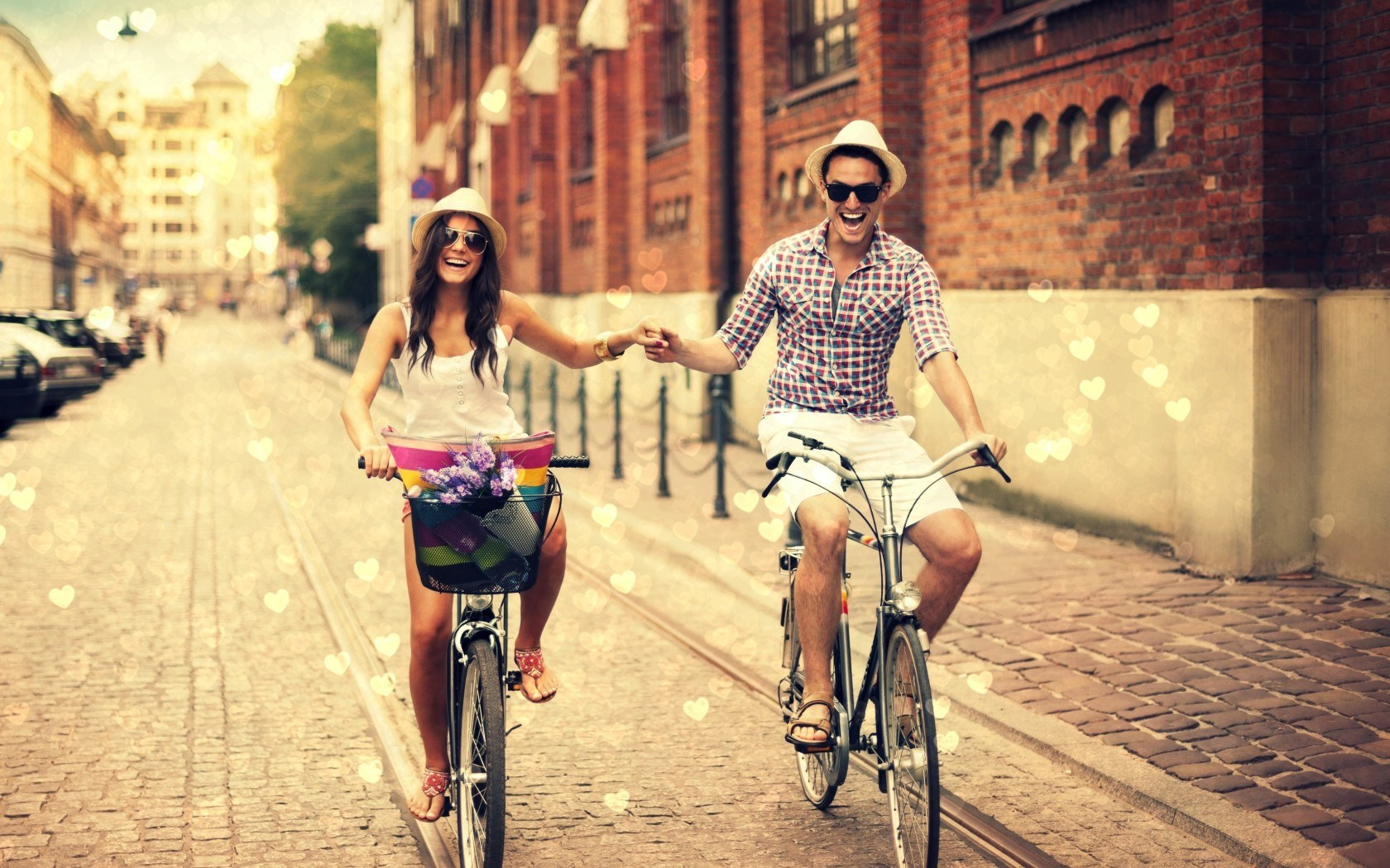 Mood Boy Girl Bicycles Love Hearts HD Wallpaper