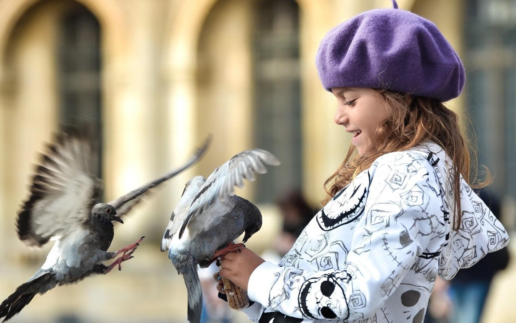 Mood Children Girl Birds Dove