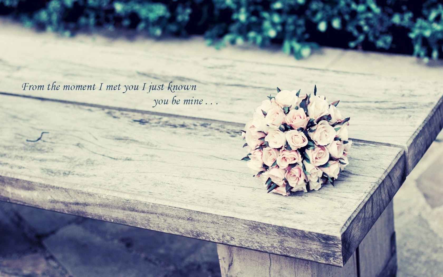 Mood Flowers Bouquet Rose Pink Bench Lettering Photo HD wallpaper 1680x1050 ...