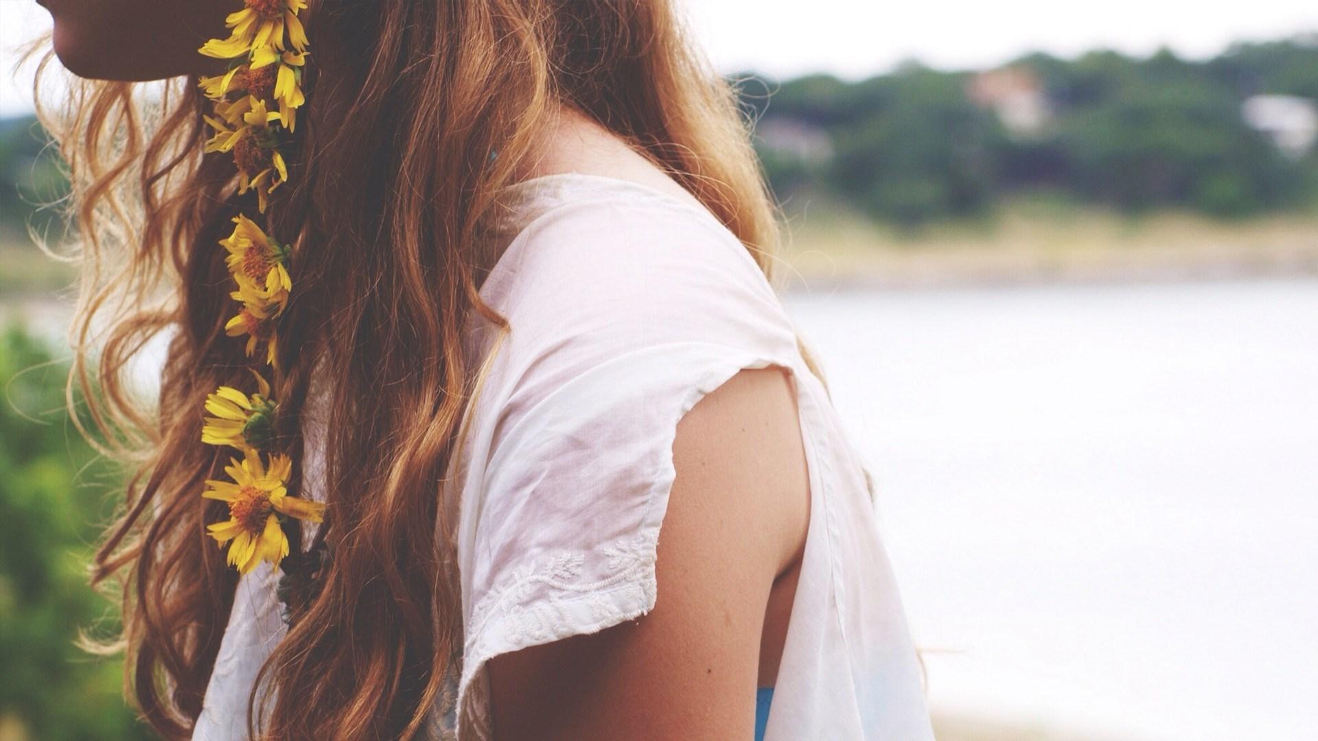 Girl Redhead Flowers Yellow Mood