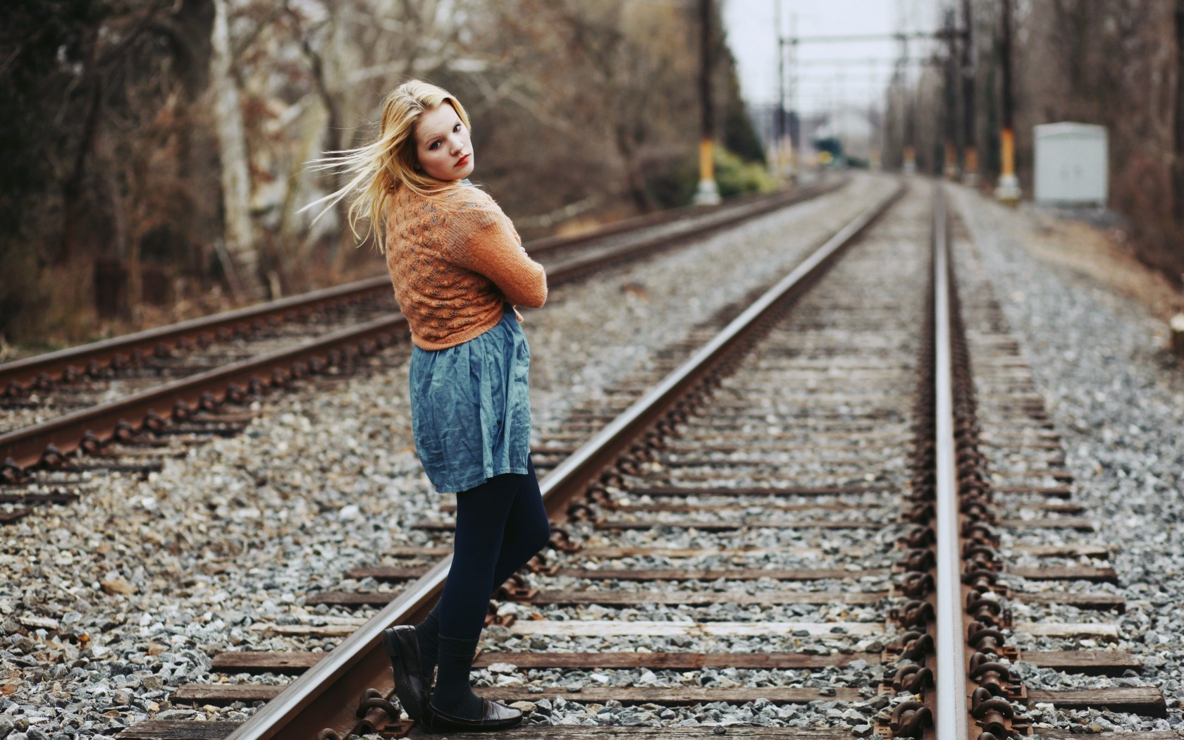 Mood Girl Blonde Railroad Photo