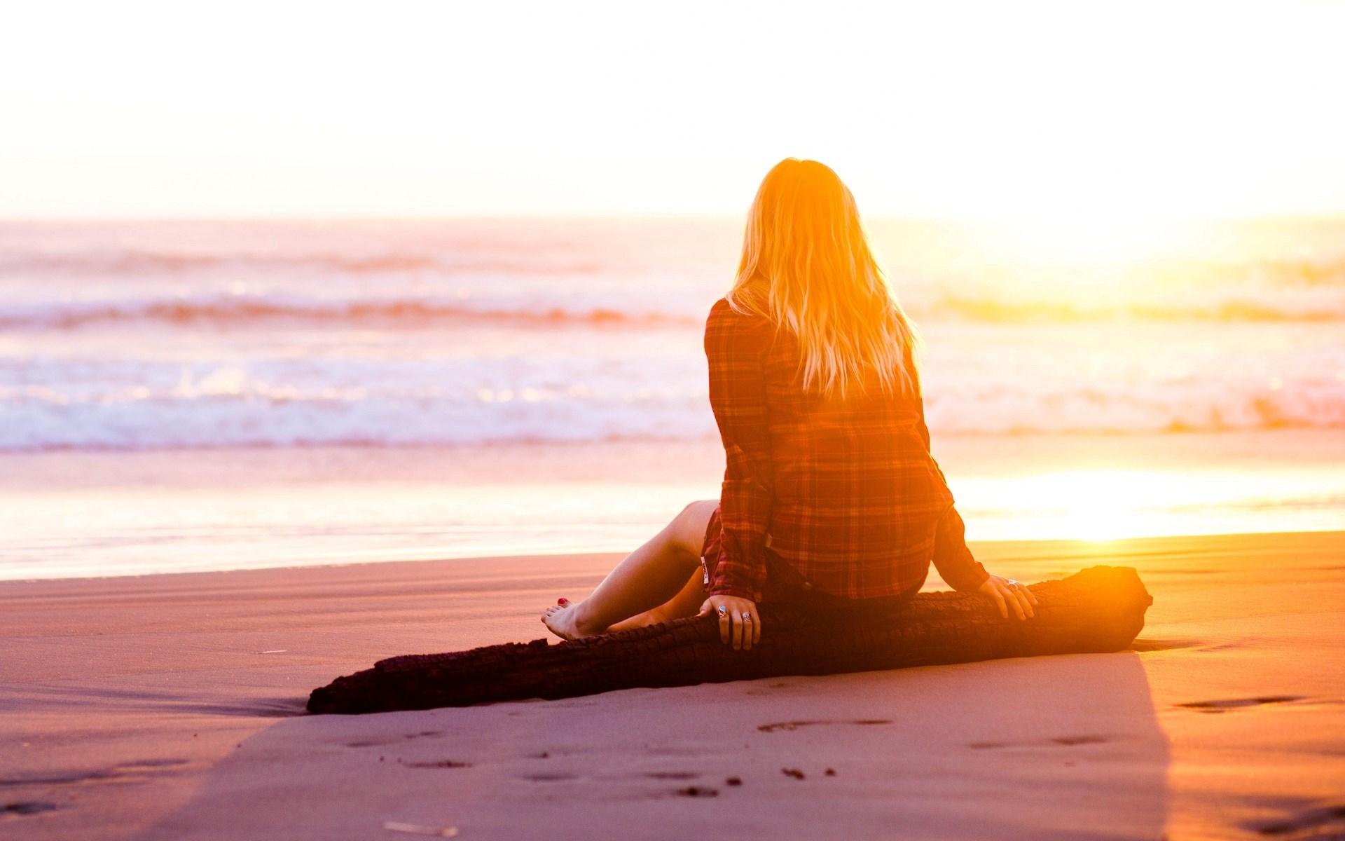 Mood Girl Blonde Sitting Dreams Sand Beach Summer Sea