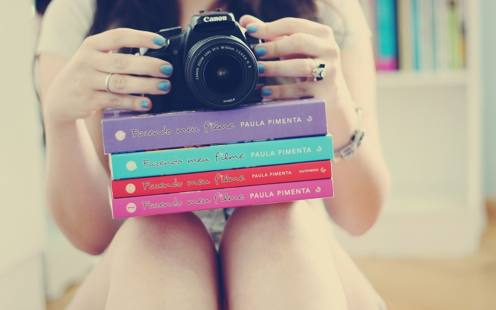 Mood Girl Books Camera Photo
