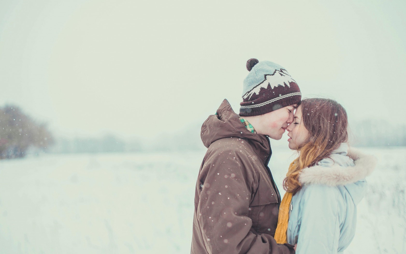 Mood Girl Boy Winter Snow Tenderness Love