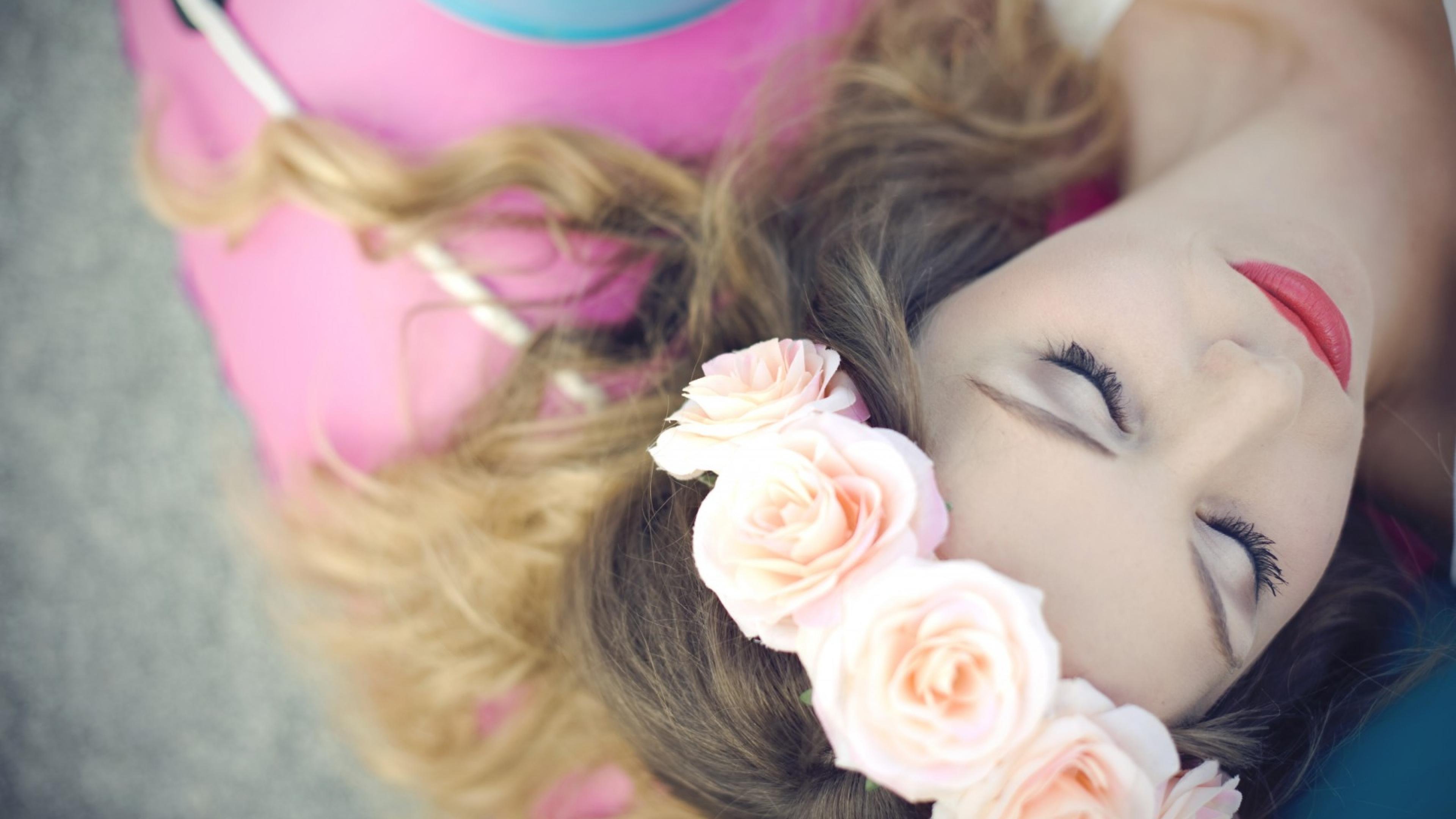 Mood Girl Flowers Roses Photo