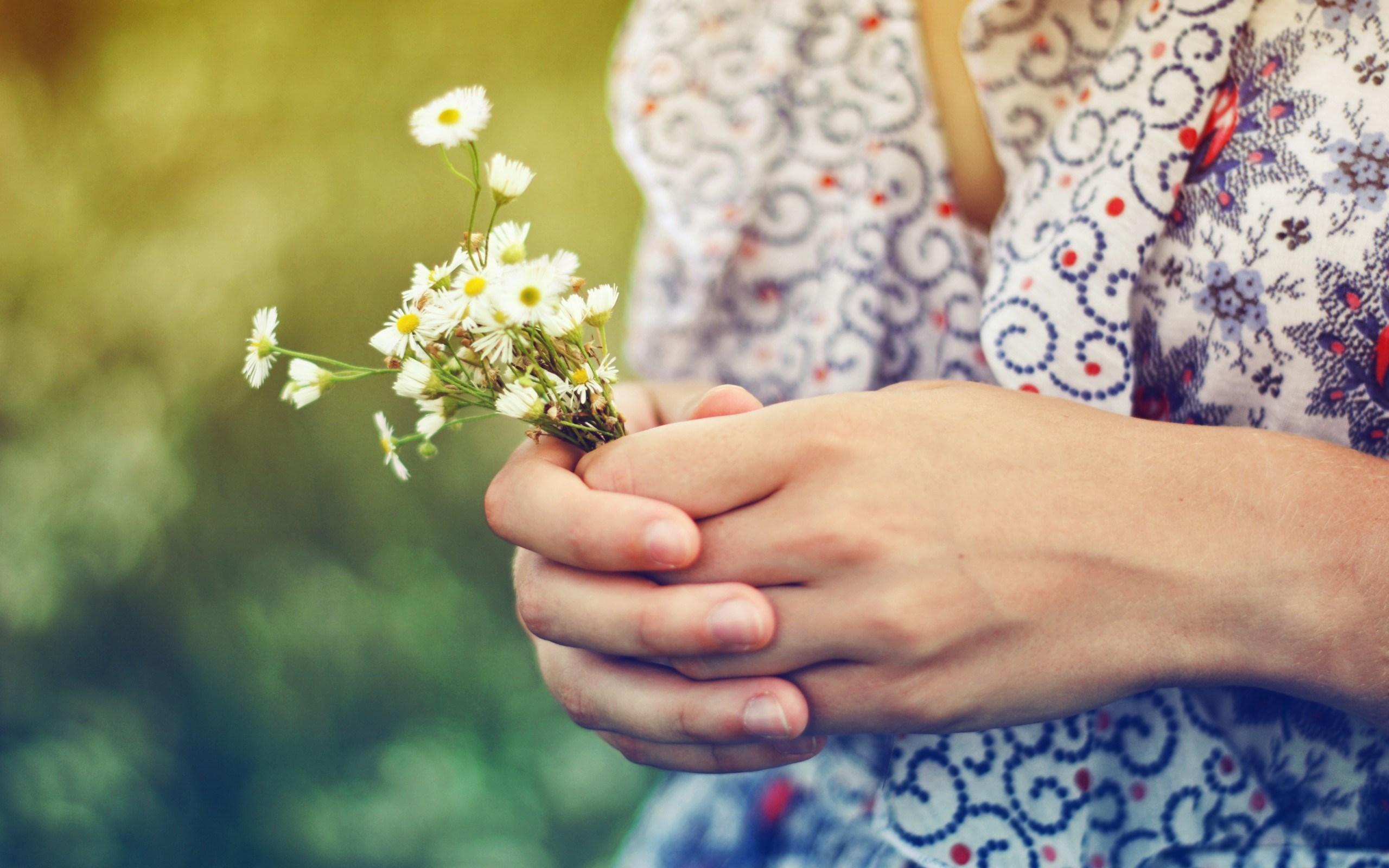 Mood Girl Hands Flowers