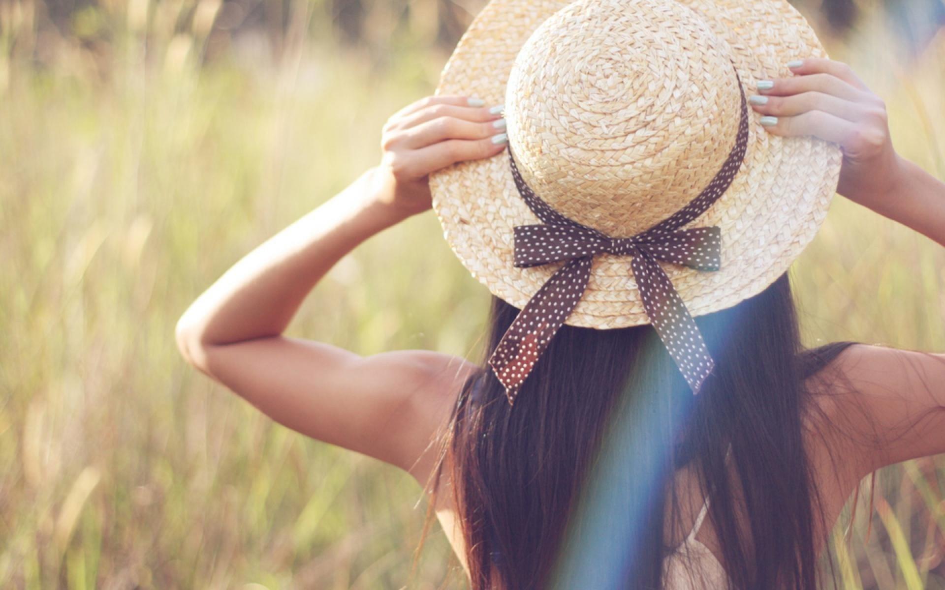 Mood Girl Hat Bow Ribbon Nature Photo