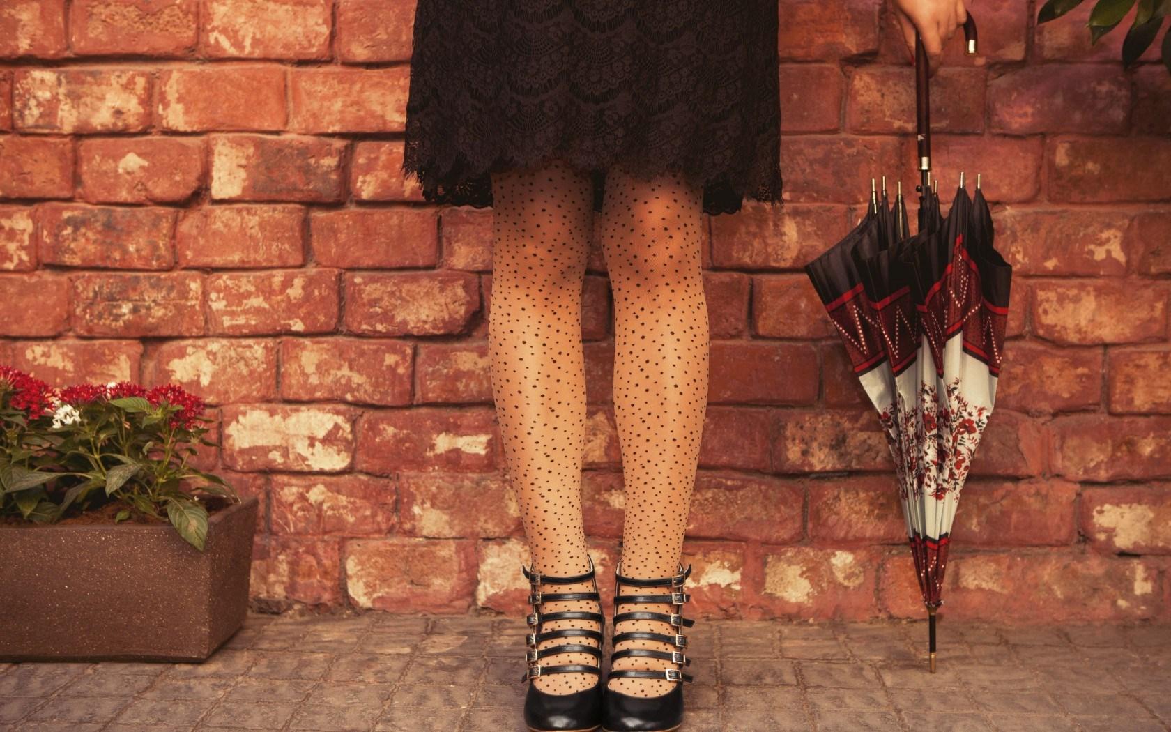 Mood Girl Legs Dress Umbrella Flowers Brick Wall