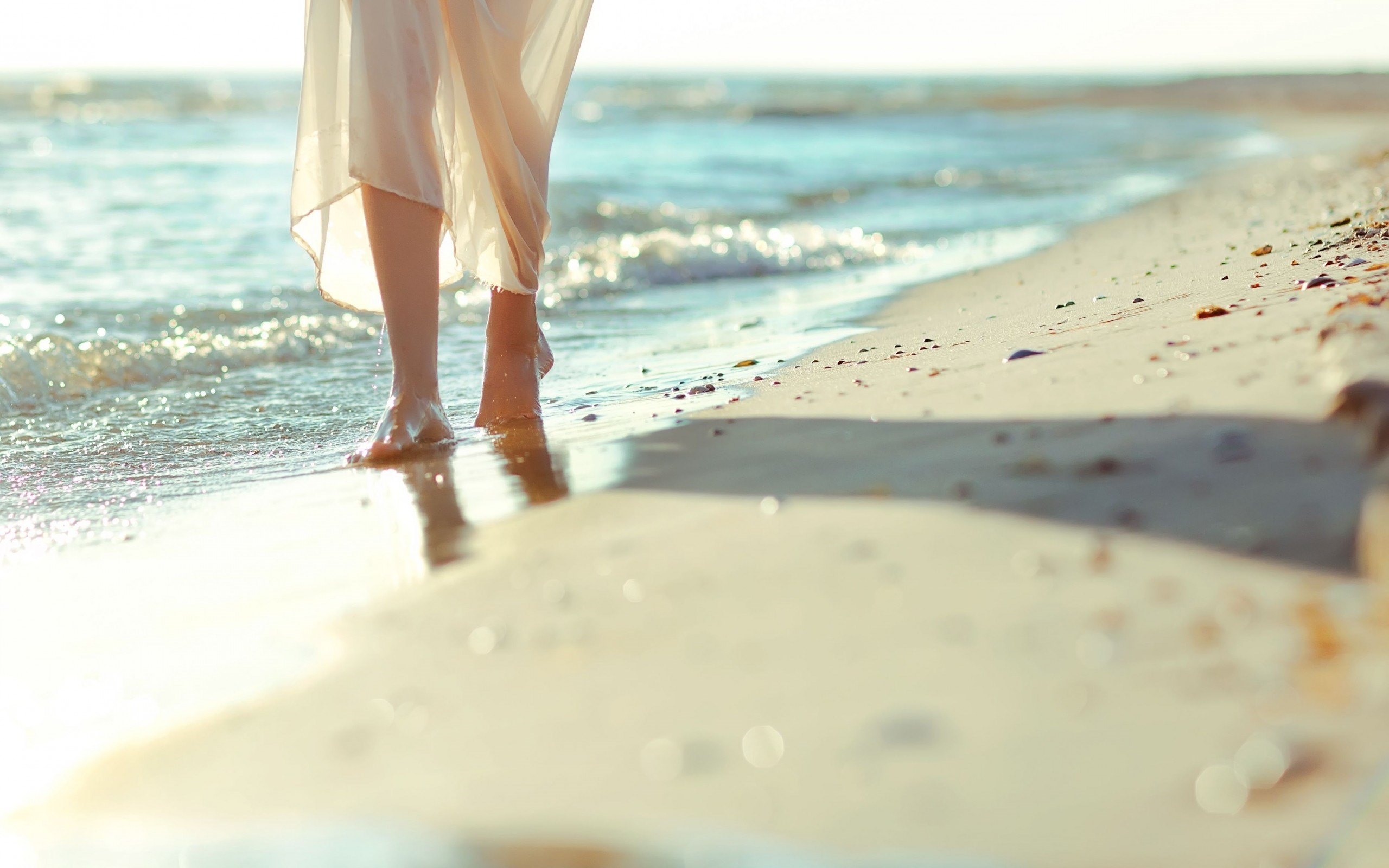 Mood Girl Legs Sand Beach Sea Waves