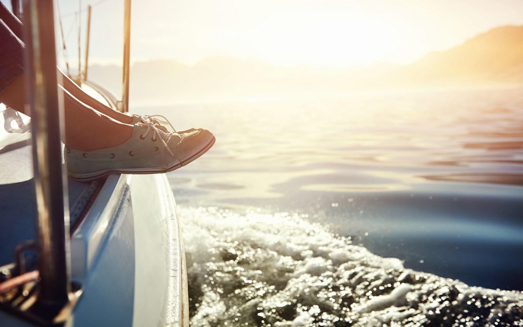 Mood Girl Legs Shoes Sea Waves Sun
