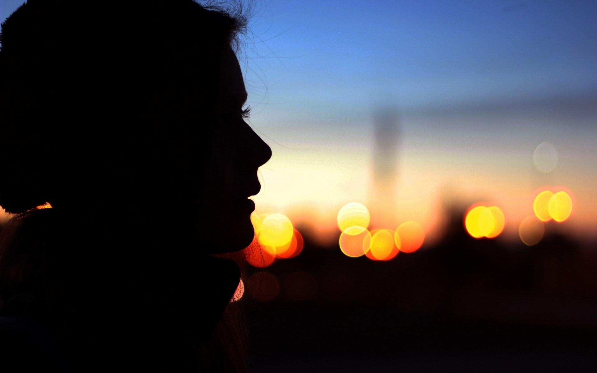 Mood Girl Profile Silhouette Evening Bokeh