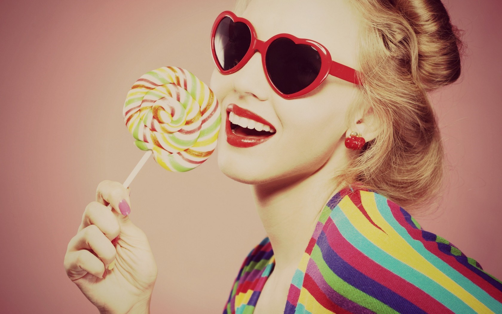 Mood Girl Smile Glasses Heart Candy Lollipop
