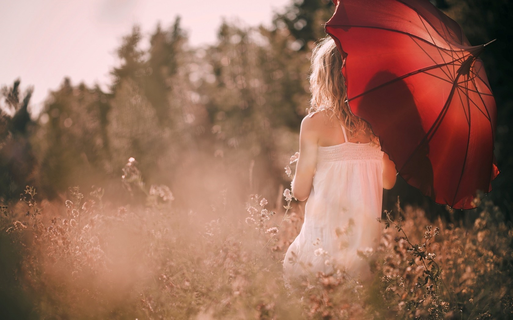 Mood Girl Umbrella Red Nature