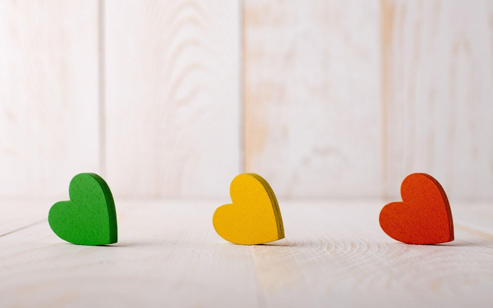 Mood Hearts Green Yellow Red Love