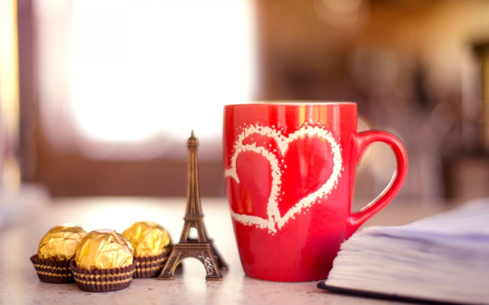Mood Mug Red Hearts Chocolate Candy Notebook Eiffel Tower Love