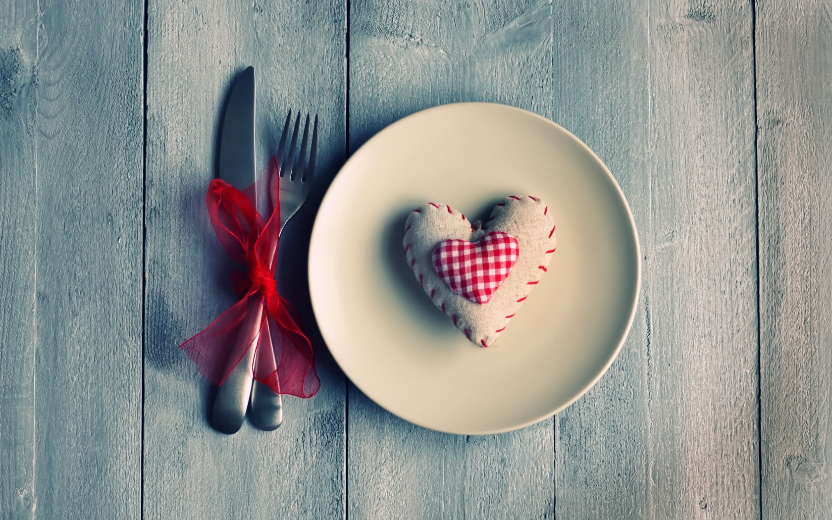 Mood Plate Knife Fork Heart Love