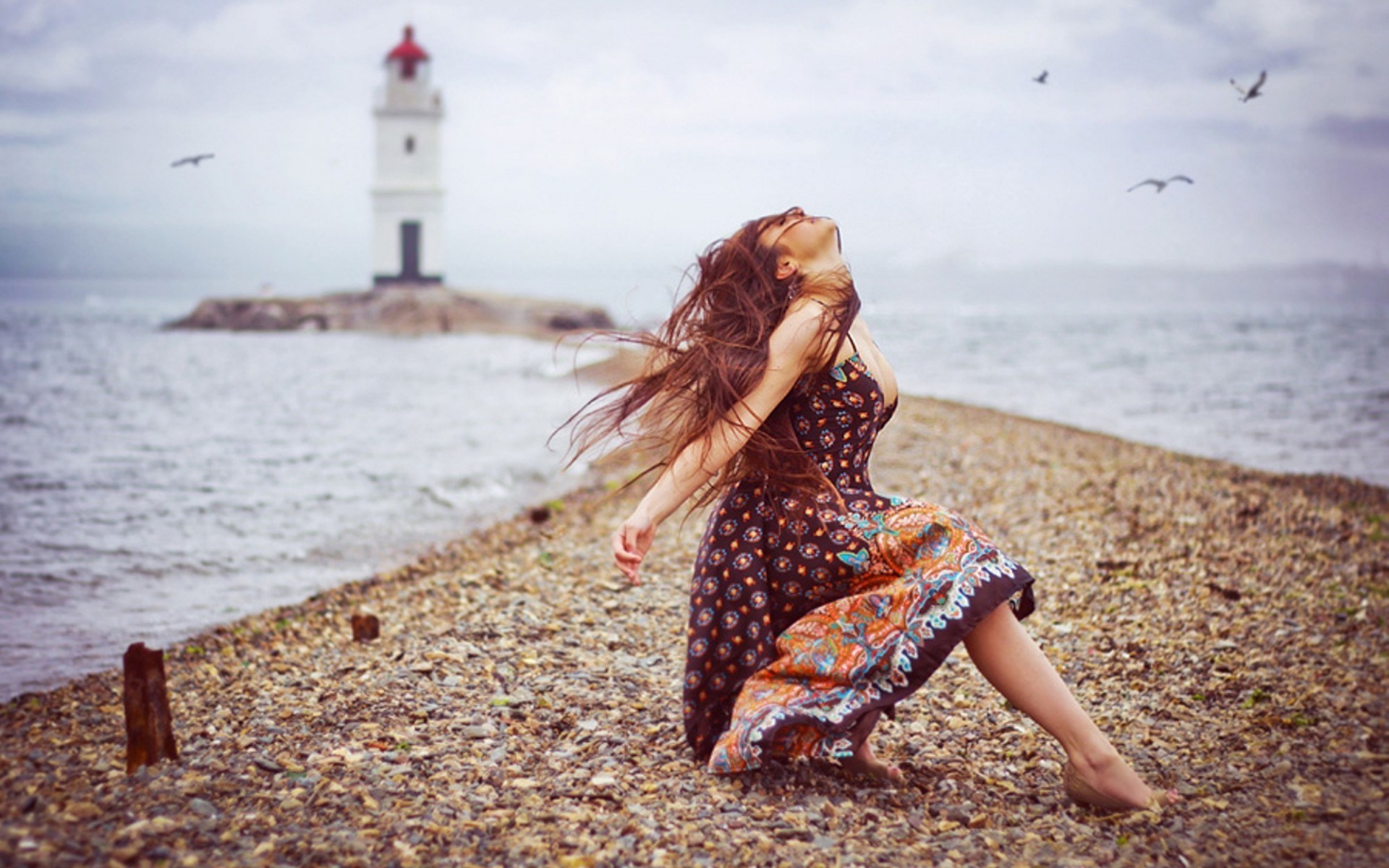 Mood The Lighthouse The Girl on The Beach Birds